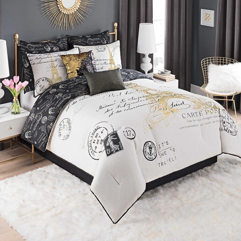 Casa paris gold 8 piece comforter set king bed in bag elegant black and gold print on amazon includes comforter 2 shams 2 euro shams 2 dec pillows