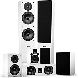 Fluance Elite High Definition Surround Sound Home Theater 7.0 Channel Speaker System Including Three-Way Floorstanding Towers, Center Channel, Surround and Rear Surround Speakers - White (SX70WHR)