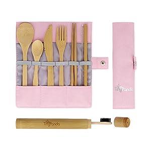 Tiny Panda Pink Bamboo Cutlery | Travel Cutlery Set | Travel Utensils | Portable Cutlery Set | Portable Utensils | Travel Cutlery | Reusable Utensils With Case |Bamboo Utensil Set| Bamboo Cutlery Set