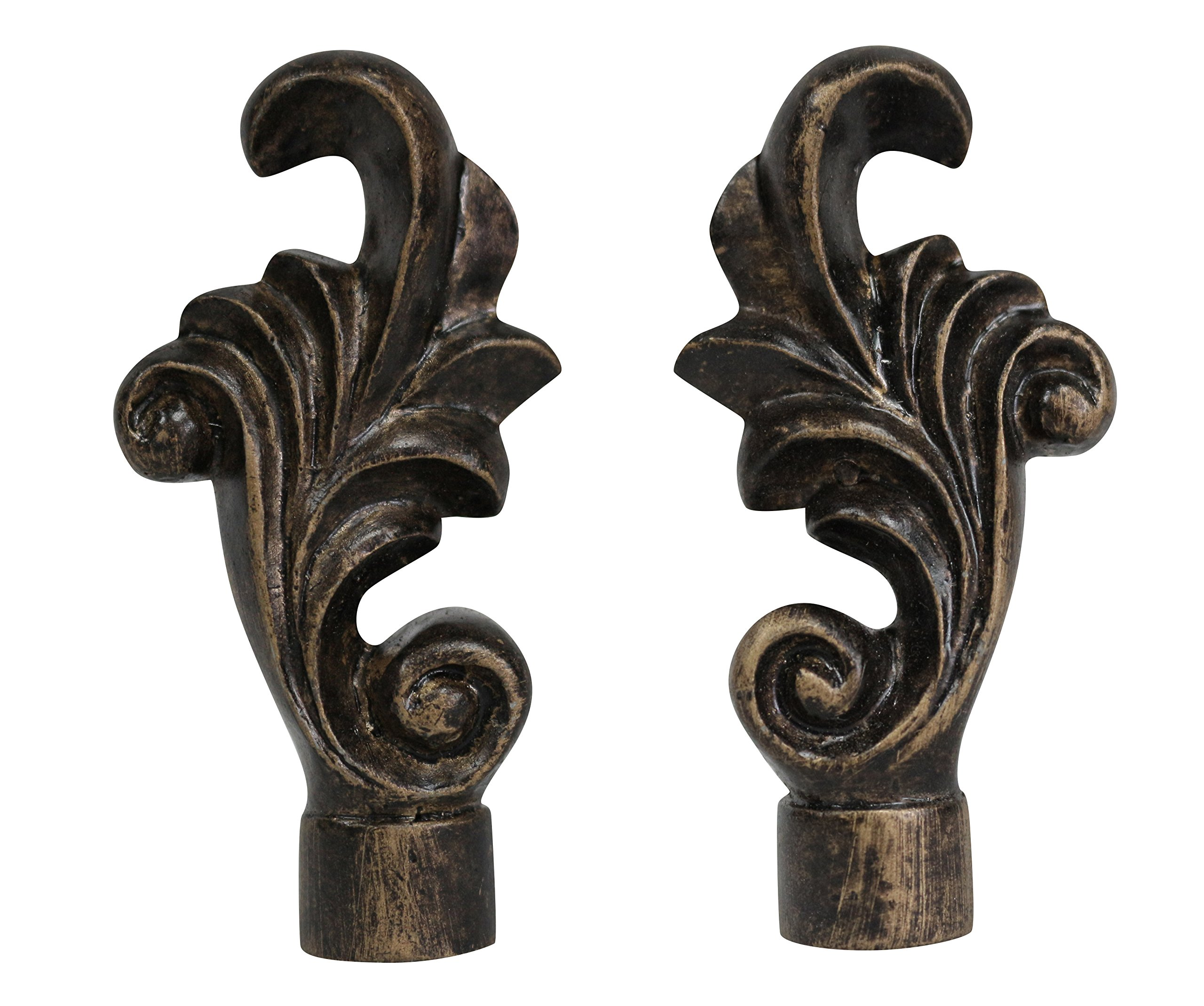 Urbanest Set of 2 Loire Lamp Finial, 3-inch Tall, Antique Bronze