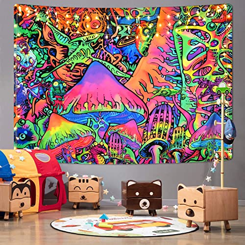 Psychedelic Tapestry Colorful Mushrooms Tapestries Hippie Abstract Tapestry Trippy Fantasy Monster Tapestry Wall Hanging for Room 51.2 x 59.1 inches