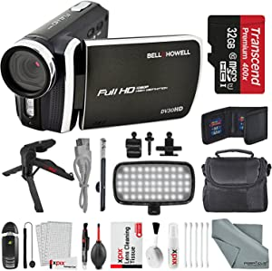 Bell & Howell DV30HD 1080p HD Video Camera Camcorder (Black) + Case, LED Light, Tripod, 32GB Memory Card, Memory Card Wallet, Card Reader & Xpix Deluxe Cleaning Accessories