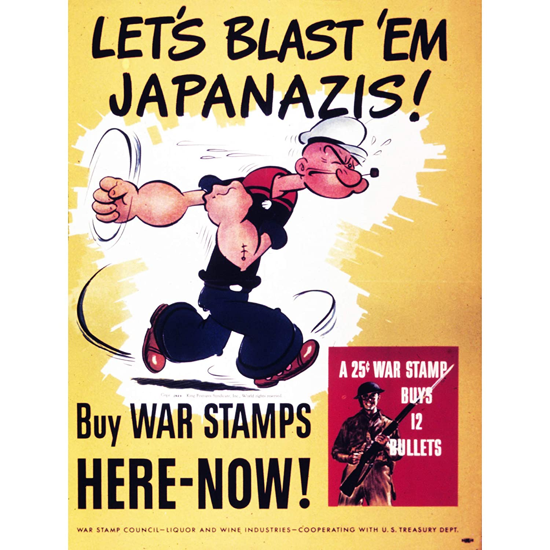 PROPAGANDA WAR WWII USA POPEYE STAMPS BULLETS FINE ART PRINT ...