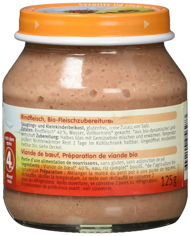 6 x 125 g Holle Bio Rindfleisch 6er Pack