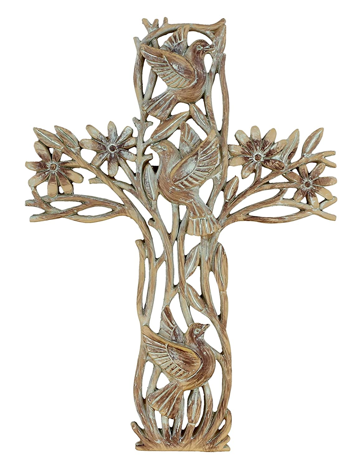Old River Outdoors Garden of Life Wall Cross - Rustic Carved Wood Look Flowers and Doves Decorative Spiritual Art