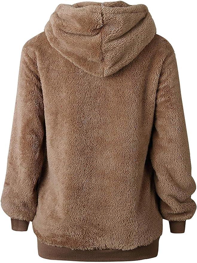 Oversized Sherpa Hooded Sweatshirt Zip Pockets Casual Outwear Coat Warm Costume Namektch Womens Pullover Hoodie