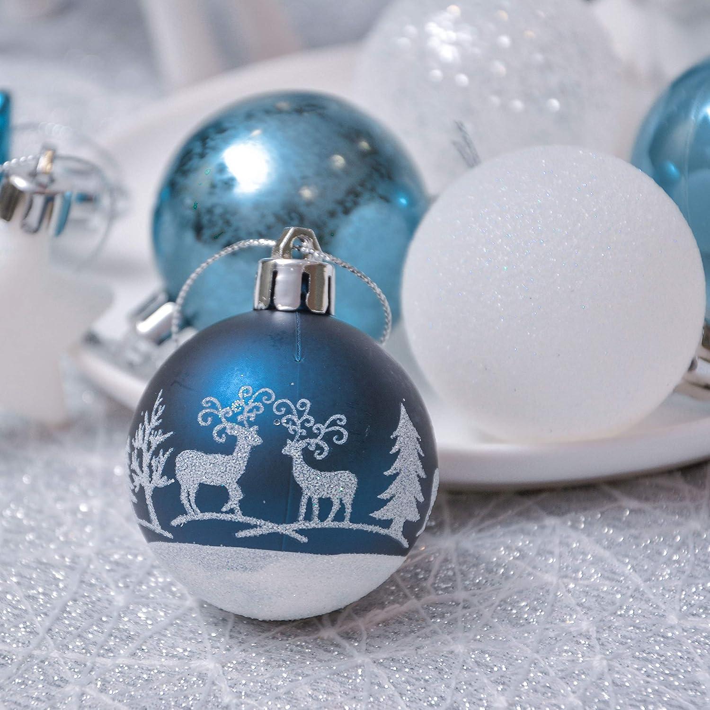 Deseos de Invierno Regalos de Colgantes de Navidad Decoraci/ón de Bolas de Navidad Pl/ástico de Azul y Blanco Adornos Navide/ños para Arbol Valery Madelyn 35 Piezas Bolas de Navidad de 5cm