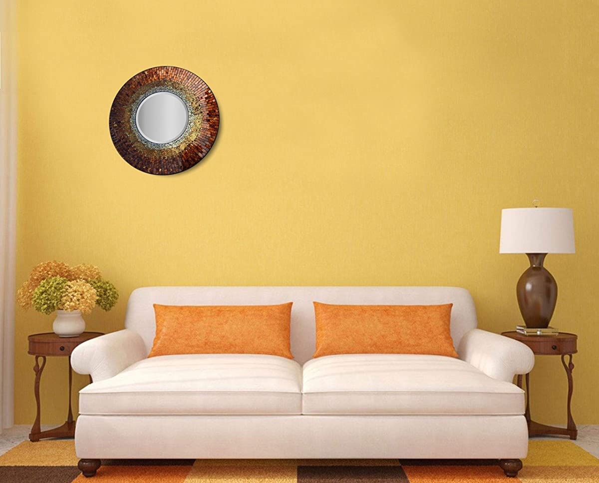 "LuLu Decor, Baltic Amber Mosaic Wall Mirror, Decorative Handmade Beveled Round Mirror, Diameter 23.5"", Mirror 11.5"" Perfect for Housewarming Gift. (LP301)"