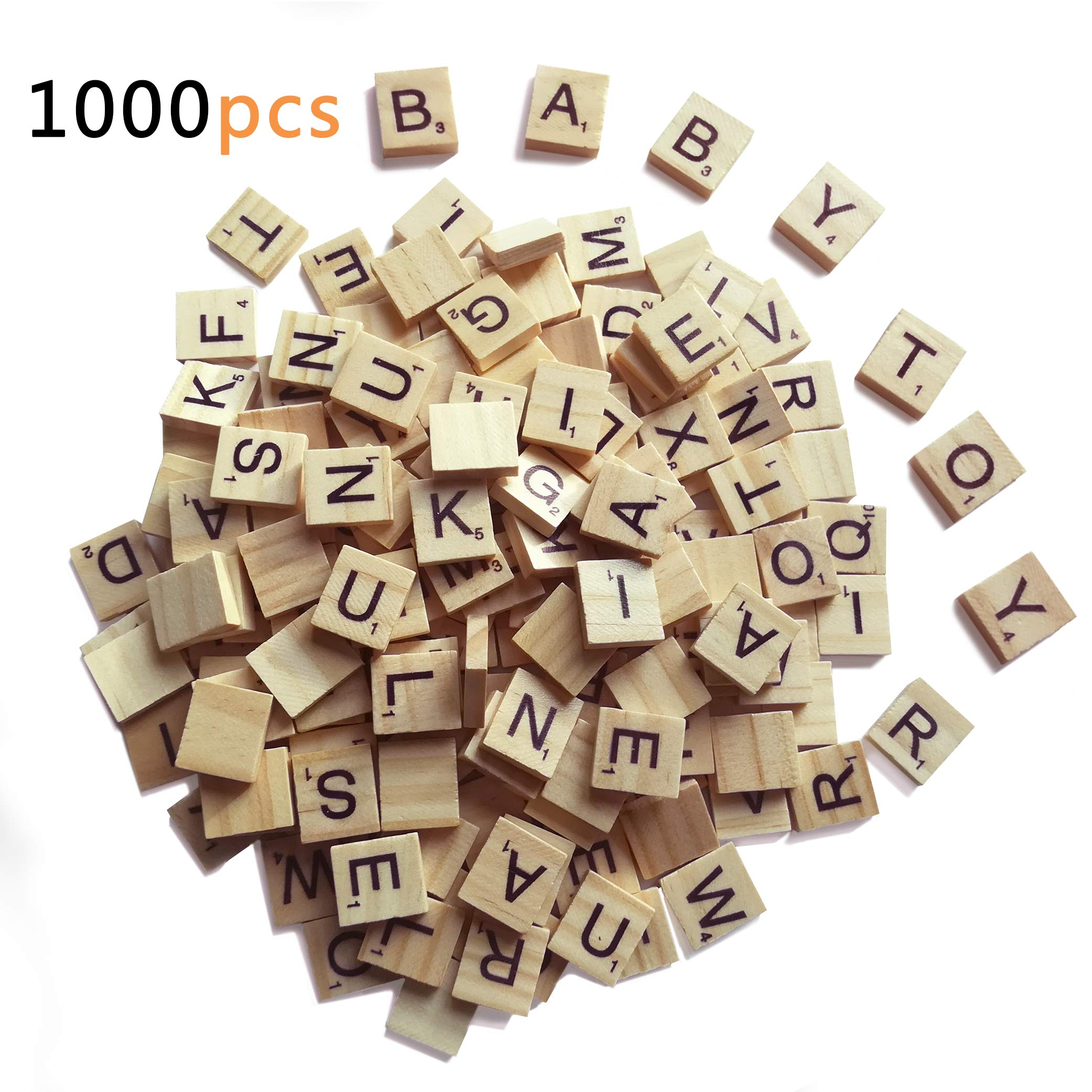 1000 Scrabble Letters for Crafts - Wood Scrabble Tiles - DIY Wood Gift Decoration - Making Alphabet Coasters and Scrabble Crossword Game by QMET