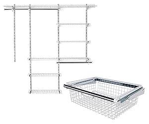 La Rosticceria Rubbermaid Configurations Closet Organizer Kits, 3 Feet to 6 Feet Wide, White Bundle with Configurations Closet System Sliding Metal Storage Basket, White