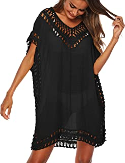 db0261dc65 MIJIRUSHI Women Bathing Suit Cover Ups Swimsuit Coverup V Neck Hollow Out  Crochet Tunic Bikini Beach