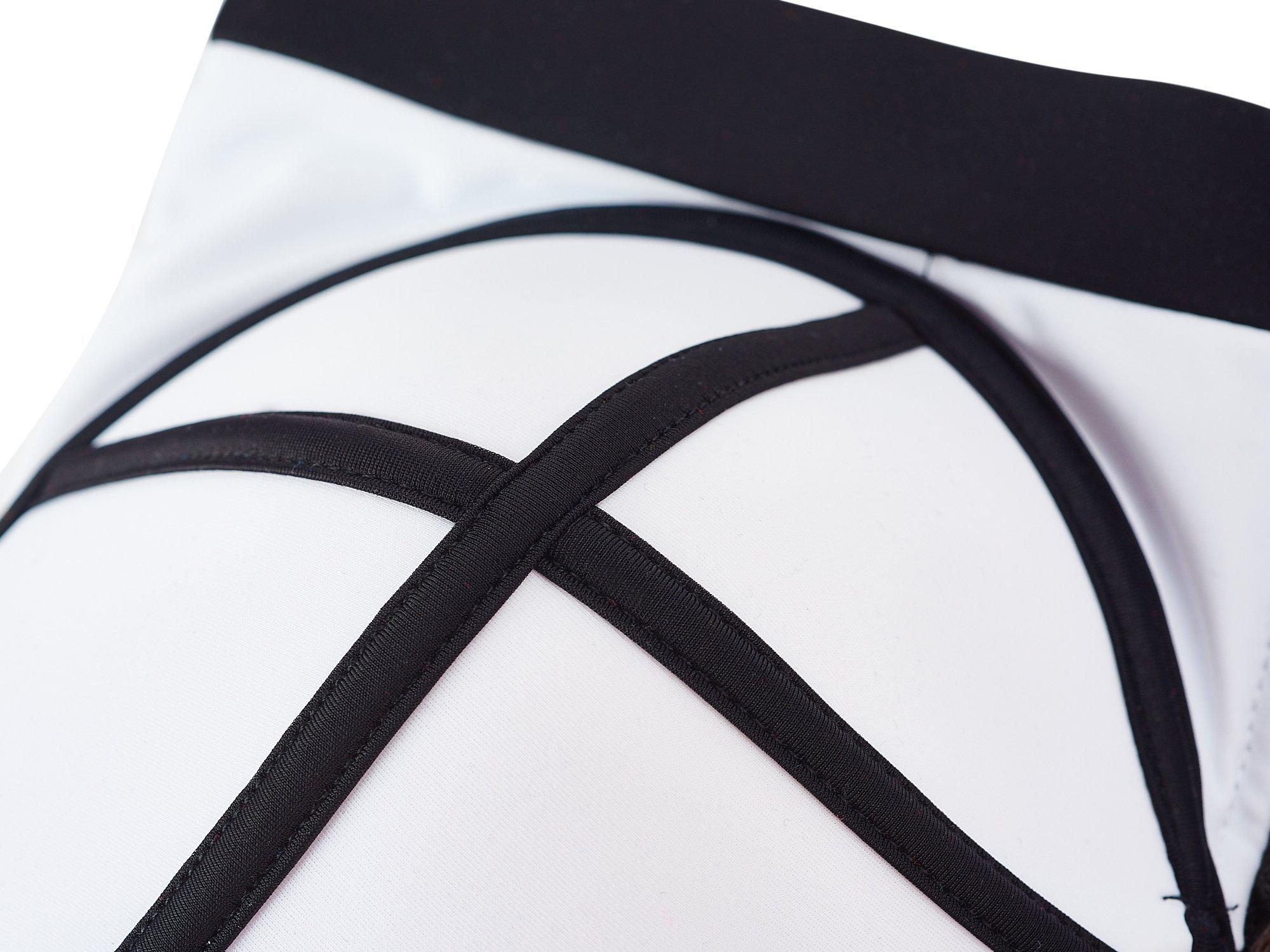 LA PLAGE Women's Colorful High Waist Padded Bathing Suit Size US XX-Large White by LA PLAGE (Image #6)