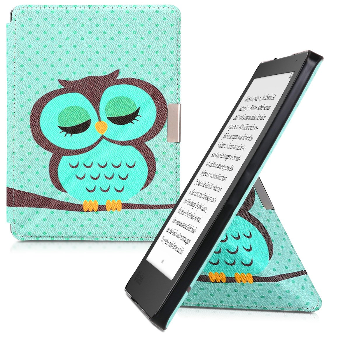kwmobile Cover case for Kobo Aura Edition 2 with stand - Ultra slim case made of synthetic leather Sleeping Owl in turquoise brown mint