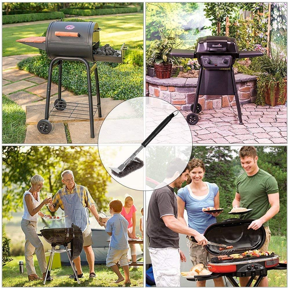 /électrique et /à gaz Convient pour Barbecue /à Charbon Ergonomique et efficacex /… Brosse 3 en 1 DE 45cm en Fil d/'Acier Inoxydable tiss/é Sourl Brosse de Nettoyage pour Barbecue Anti-Rouille