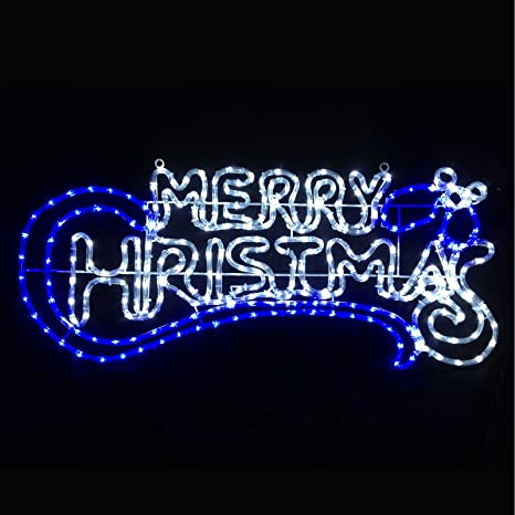 Christmas Lighted Sign.Flashing Blue White Led Merry Christmas Rope Light Sign Indoor Outdoor Decoration