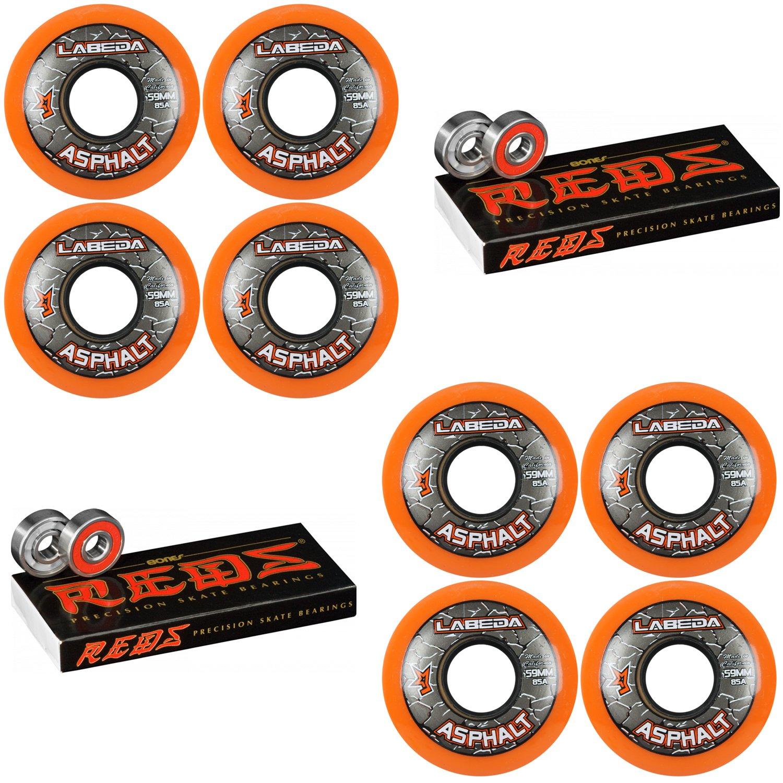 Labeda Asphalt Inline Roller Hockey Wheels 59mm Orange 85A 8-Pack Bones Reds