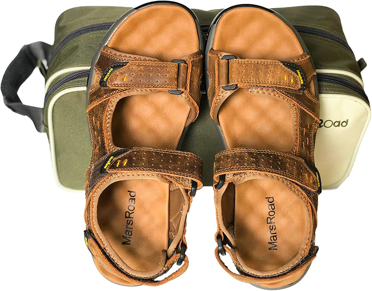 MarsRoad Mens Sandals Leather Outdoor Sandals Packed in a Large Capacity Toiletry Bag