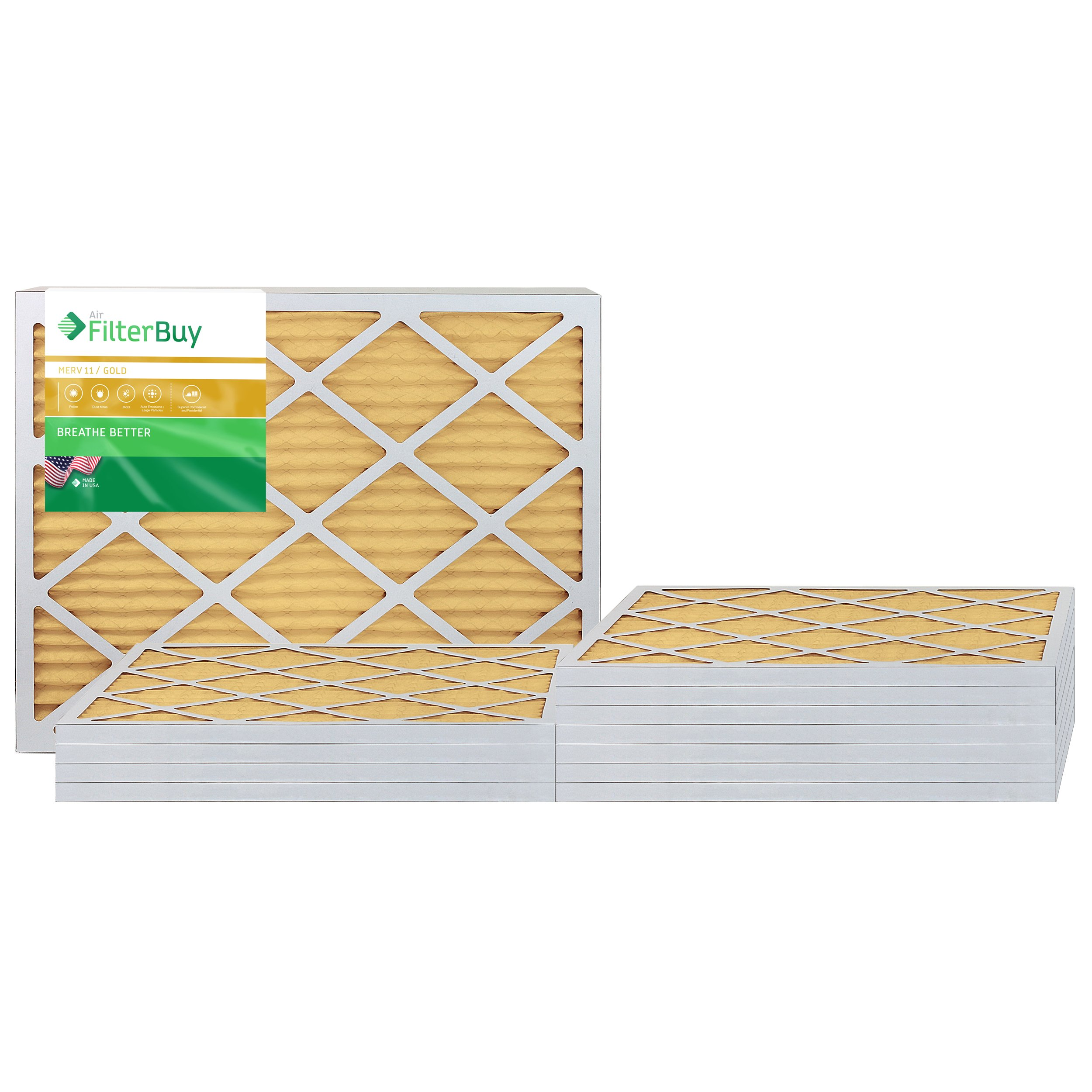 AFB Gold MERV 11 20x25x1 Pleated AC Furnace Air Filter. Pack of 12 Filters. 100% produced in the USA.