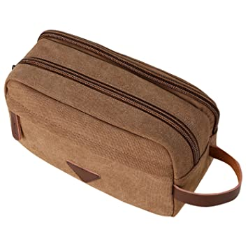 eee56678ad55 Amazon.com   Mens Travel Toiletry Bag Canvas Leather Cosmetic Makeup  Organizer Shaving Dopp Kits with Double Compartments (Coffee)   Beauty