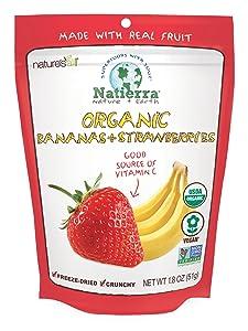 Natierra Nature's Organic Freeze-Dried Bananas and Strawberries   Gluten Free & Vegan   1.8 Ounce