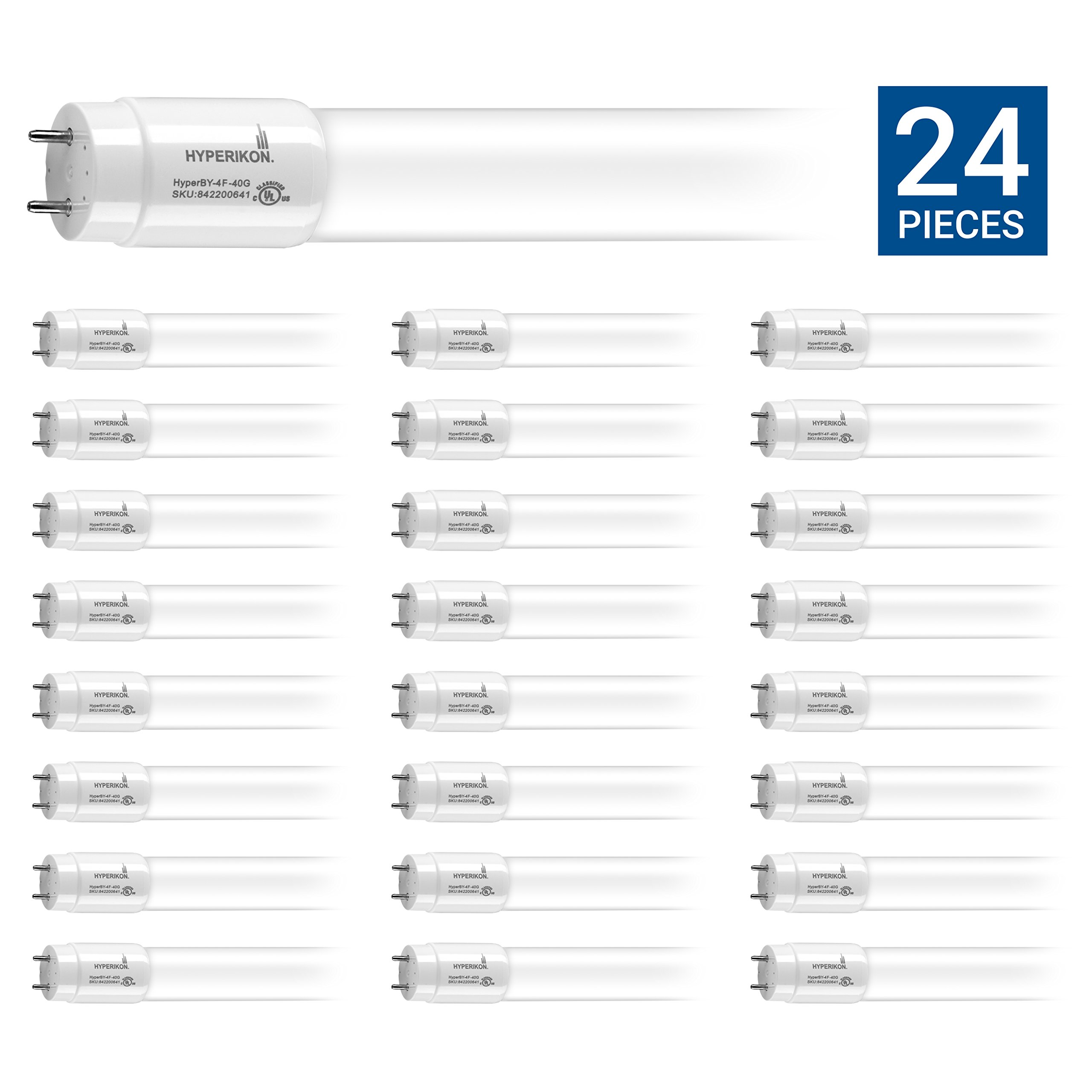 HyperSelect T8 T10 T12 Glass 4ft LED Tube Light, 18W (40W Equiv.), Ballast Bypass, Fluorescent Replacement, High Output, 2000 Lumens, 4000K, Frosted, Garage, Warehouse - 24 Pack w/ LED Lamp Holders