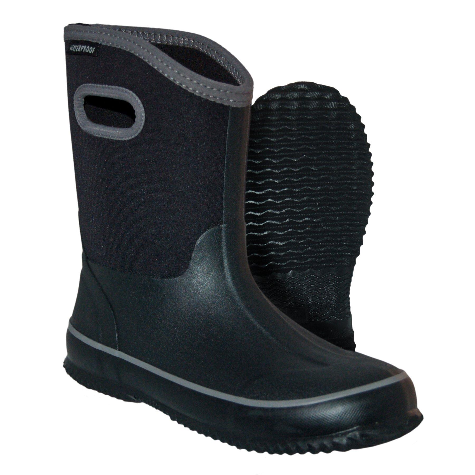 Itasca Unisex Youth Bayou Rubber/Neoprene Waterproof Boots Rain, Black, 4.0 Standard US Width US Big Kid