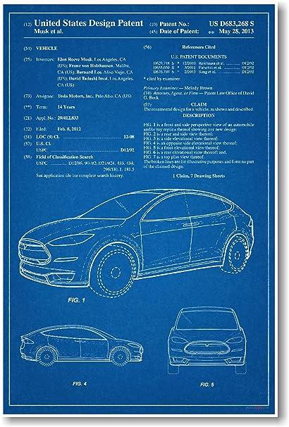 Amazon Com Tesla Model X Patent New Famous Invention Patent