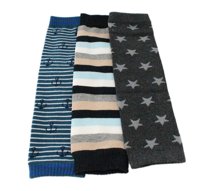 Baby Toddler Boy Girl Winter Leg Warmers 3-pack - Sailor Stripes Stars