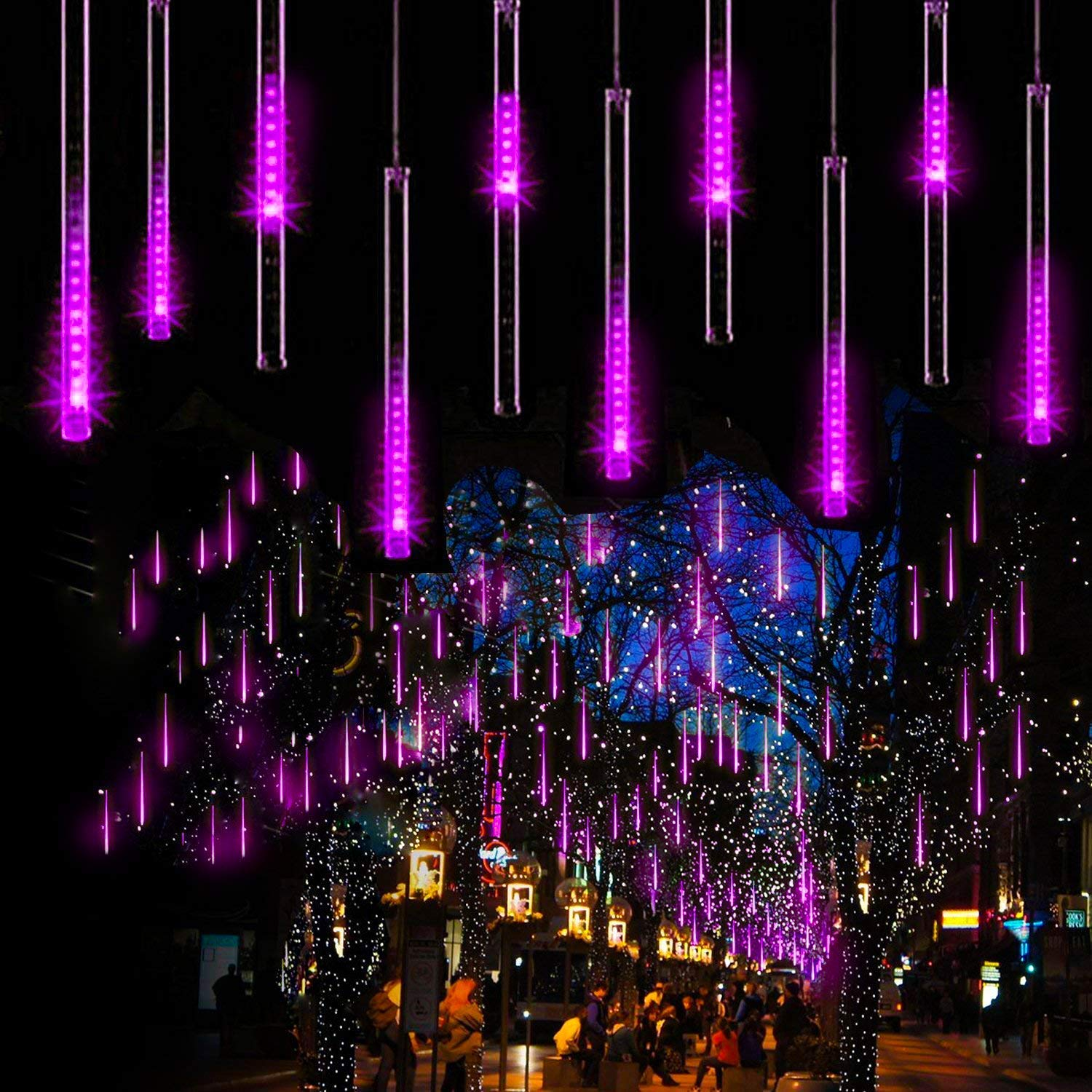 Aukora Rain Drop Lights, LED Meteor Shower Lights 11.8 inch 8 Tubes 144leds, Icicle Snow Falling Lights for Xmas Wedding Party Holiday Garden Tree Christmas Thanksgiving Decoration Outdoor (Purple)