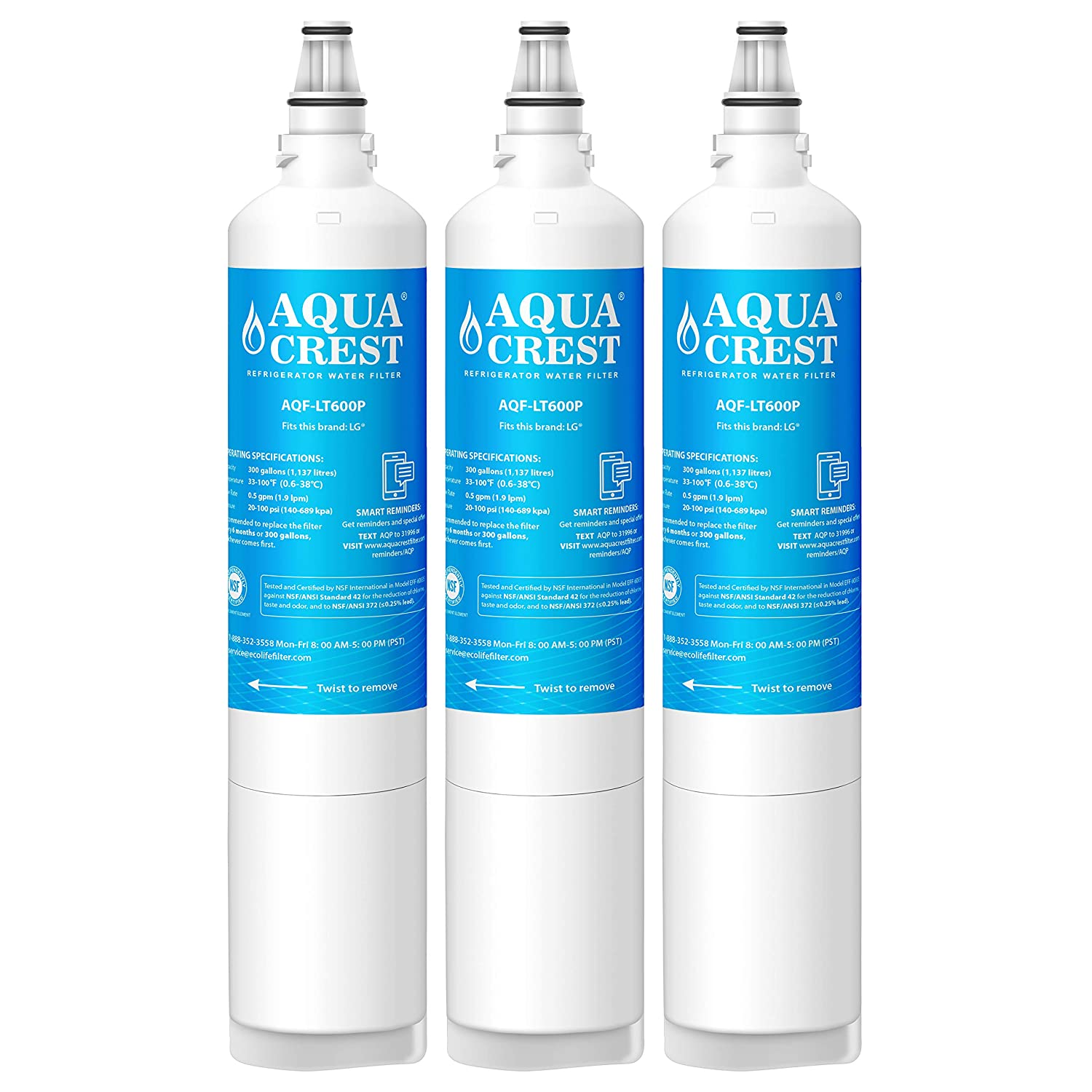 AQUACREST LT600P Replacement Refrigerator Water Filter, Compatible with LG LT600P, 5231JA2006B, 5231JA2006A, KENMORE 46-9990, 9990 (Pack of 3)