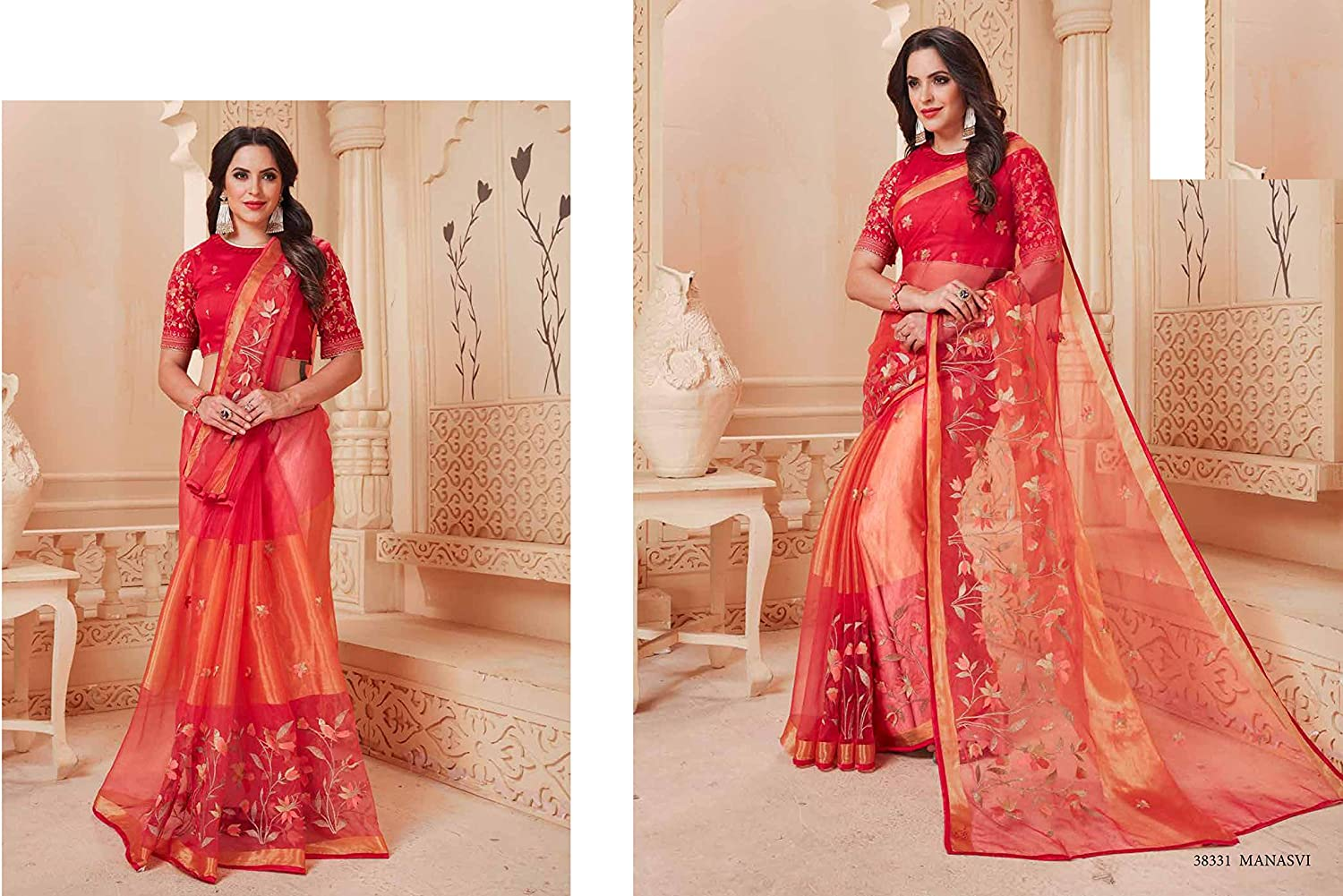 Red Organza saree Jari Thread Embroidered With Stitched Blouse  Traditional Wedding Wear Indian Women Scrap Sari Party Wear FestiveCholi