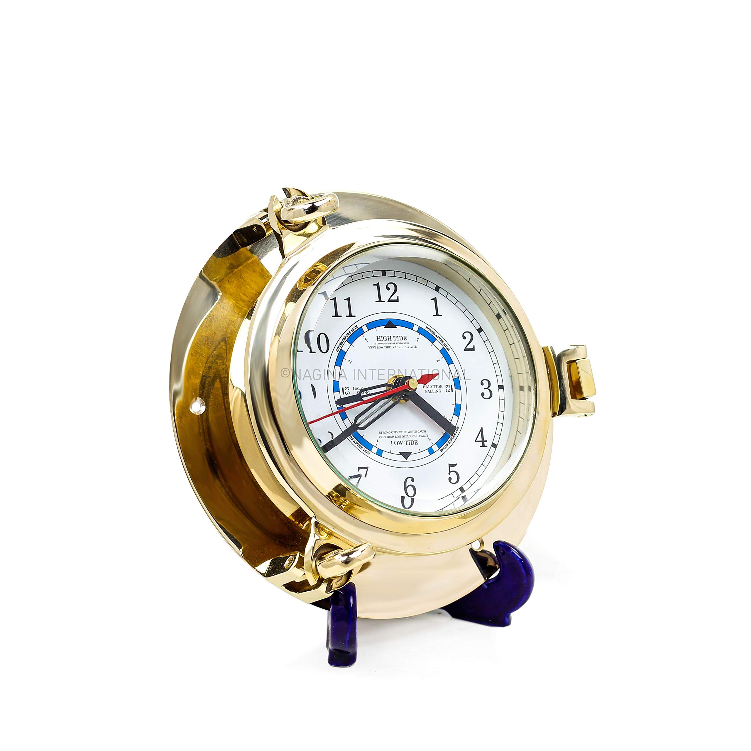 9'' Solid Brass Porthole Time and Tide Clock by Nagina International