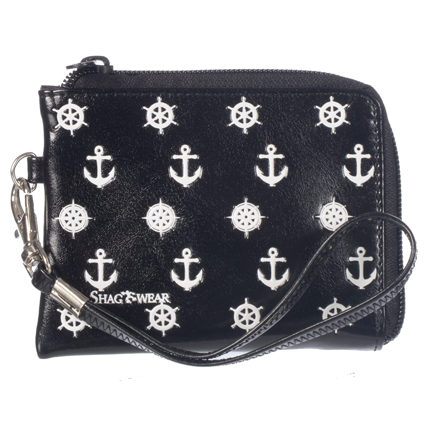 Anchors Black Shagwear Women's Birds and Insects Vegan Leather Clasp Coin Purse