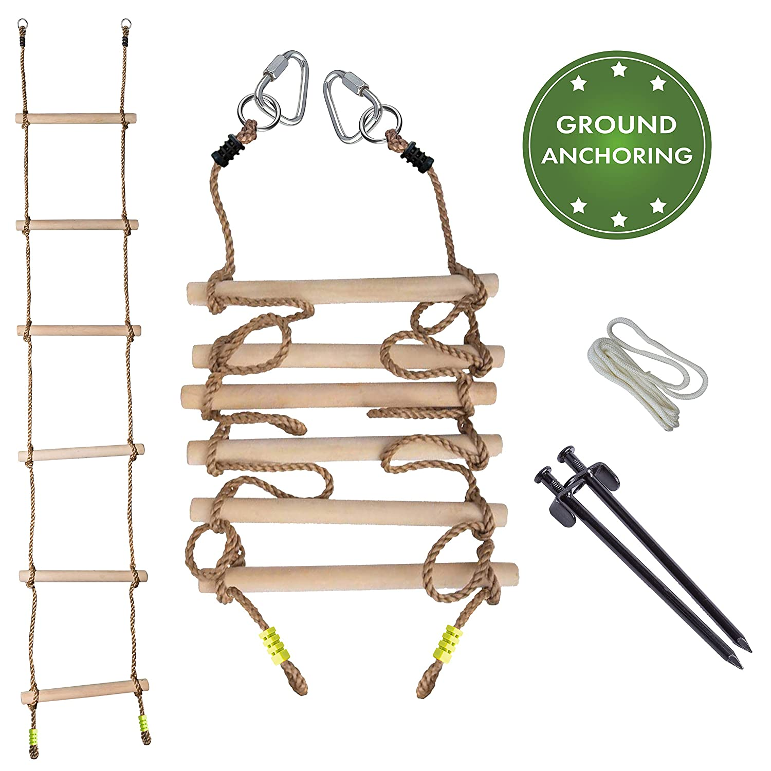 Cateam Rope Ladder for Kids - Durable 1,25' Thick Hardwood Stairs - 7 ft. Climbing Ninja line Ladder for Kids or Adults with Ground anchoring - Swing Set Accessories for slacklines