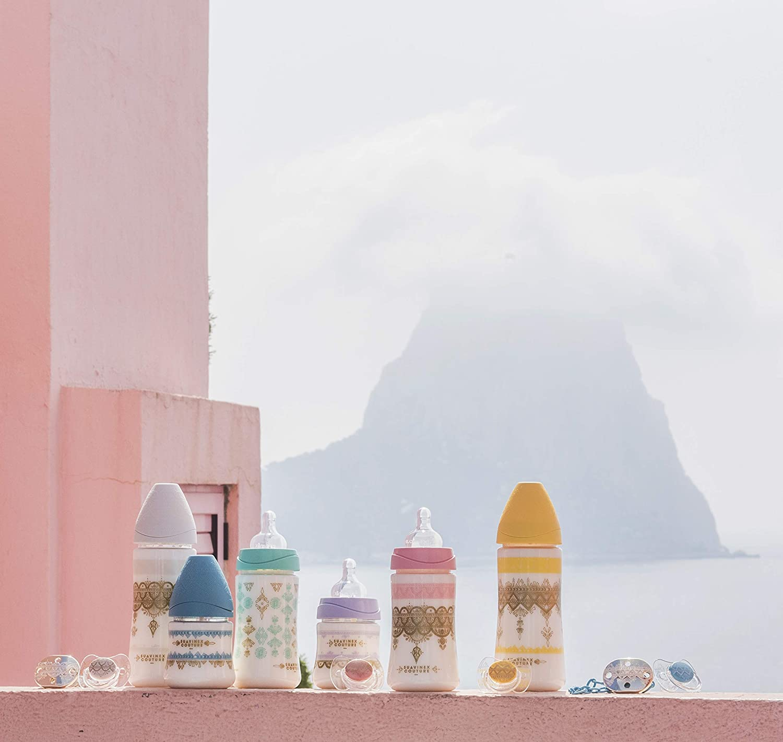 Suavinex - Biberón bebé Premium Haute Couture. Tetina redonda silicona flujo lento, 150ml. Biberón +0 meses. 0% BPA. diseño Étnico color blanco