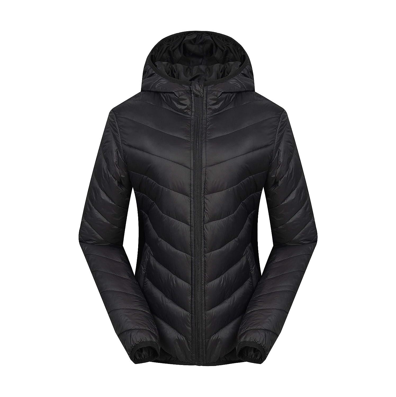 AUSLAND Women's Down Jacket Lightweight Coat Winter Outwear with Hood SP05 Black