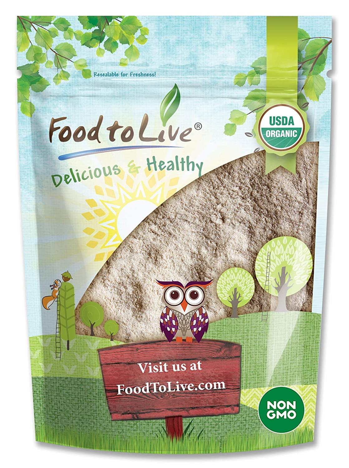 Organic Barley Flour, 1 Pound - Stone Ground from Whole Hulled Barley, Non-GMO, Raw, Vegan, Bulk, Great for Baking, Product of the USA
