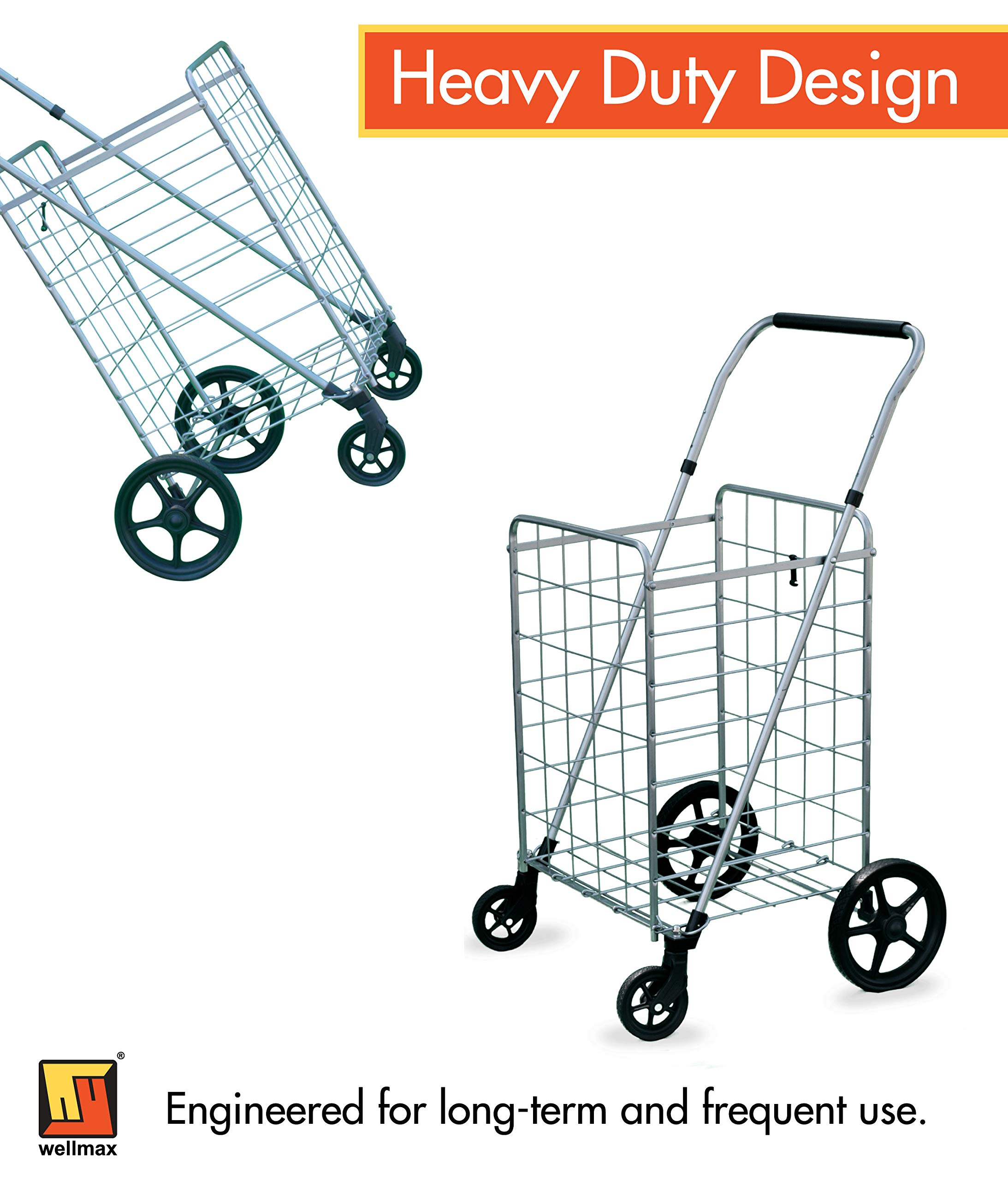 Wellmax Grocery Shopping Cart with Swivel Wheels – Foldable & Collapsible Utility Cart with Adjustable Height Handle – Space Saving Heavy Duty Light Weight Trolley by Wellmax (Image #7)