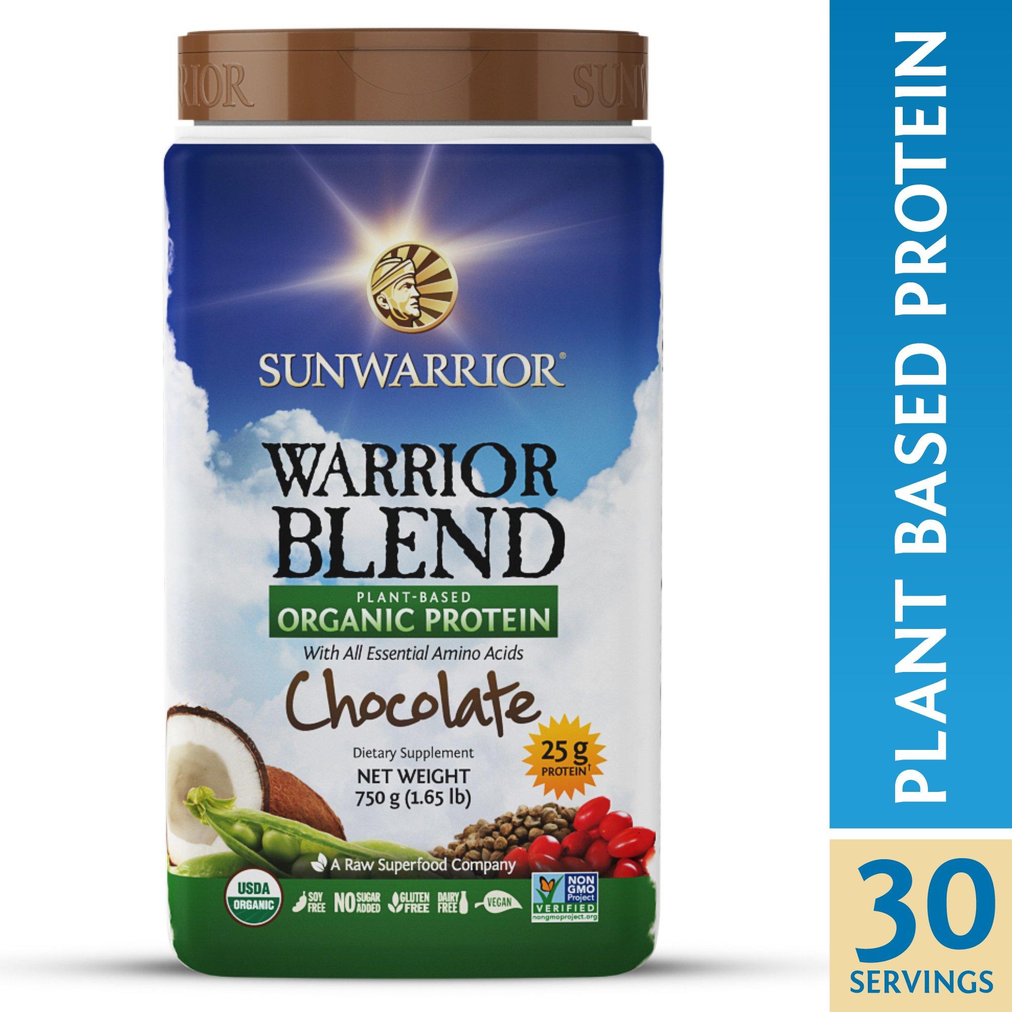 Sunwarrior Warrior Blend Protein Organic Plant-Based Chocolate 1 65 lb 750 g