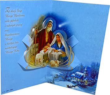 Long traditional 3d pop up polish christmas greeting card with holy long traditional 3d pop up polish christmas greeting card with holy family christmas scene m4hsunfo