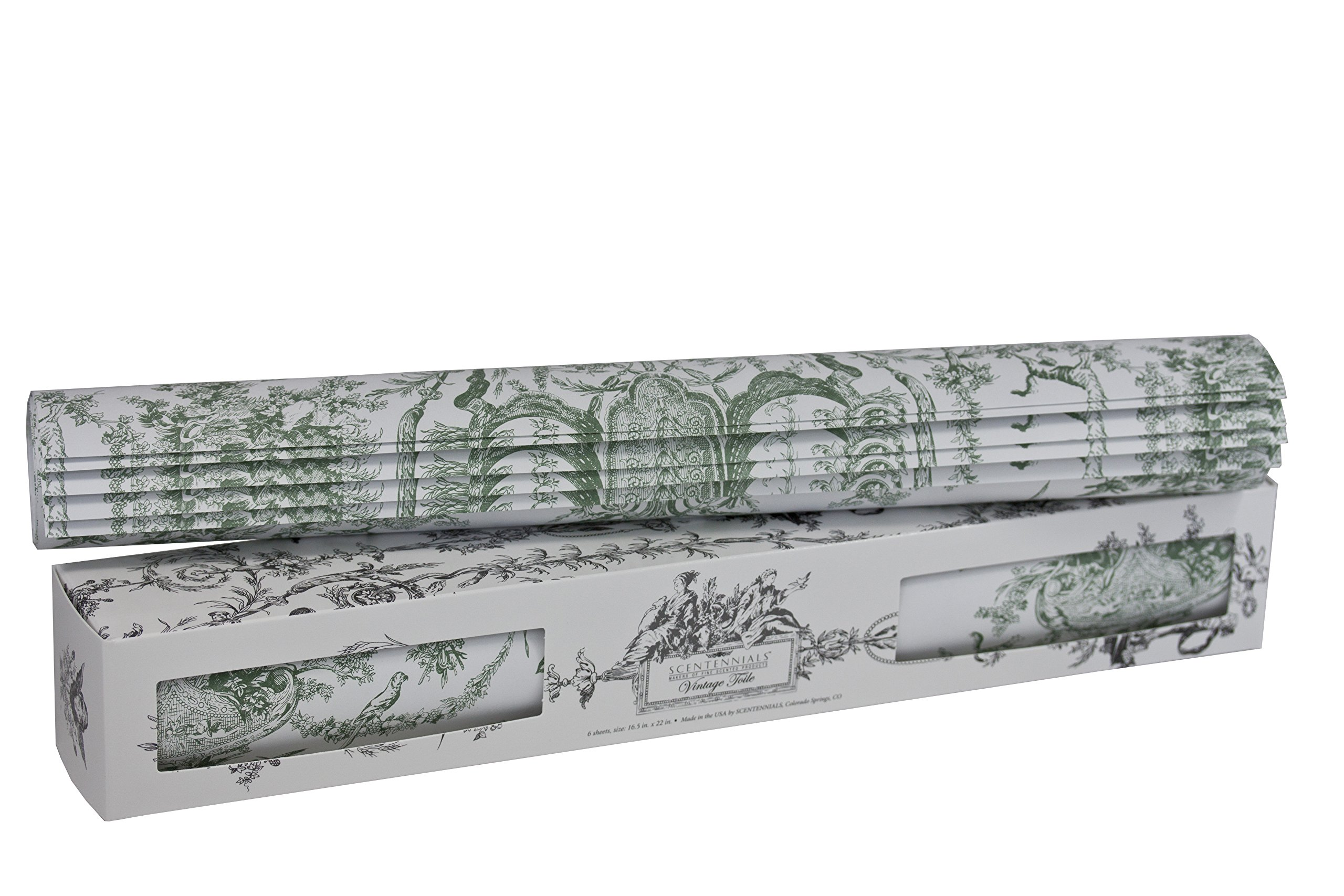 Scentennials VINTAGE TOILE GREEN (6 SHEETS) Scented Fragrant Shelf & Drawer Liners 16.5'' x 22'' - Great for Dresser, Kitchen, Bathroom, Vanity & Linen Closet by Scentennials Scented Drawer Liners