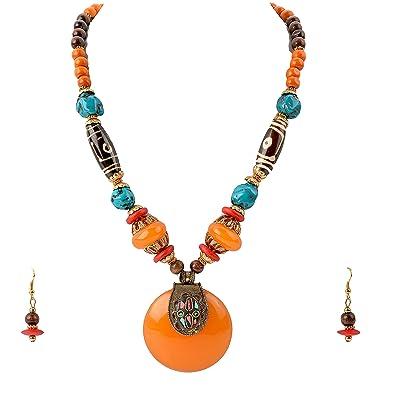 Buy zephyrr saffron tibetan stone dzi beads necklace set with zephyrr saffron tibetan stone dzi beads necklace set with earrings for women aloadofball Images