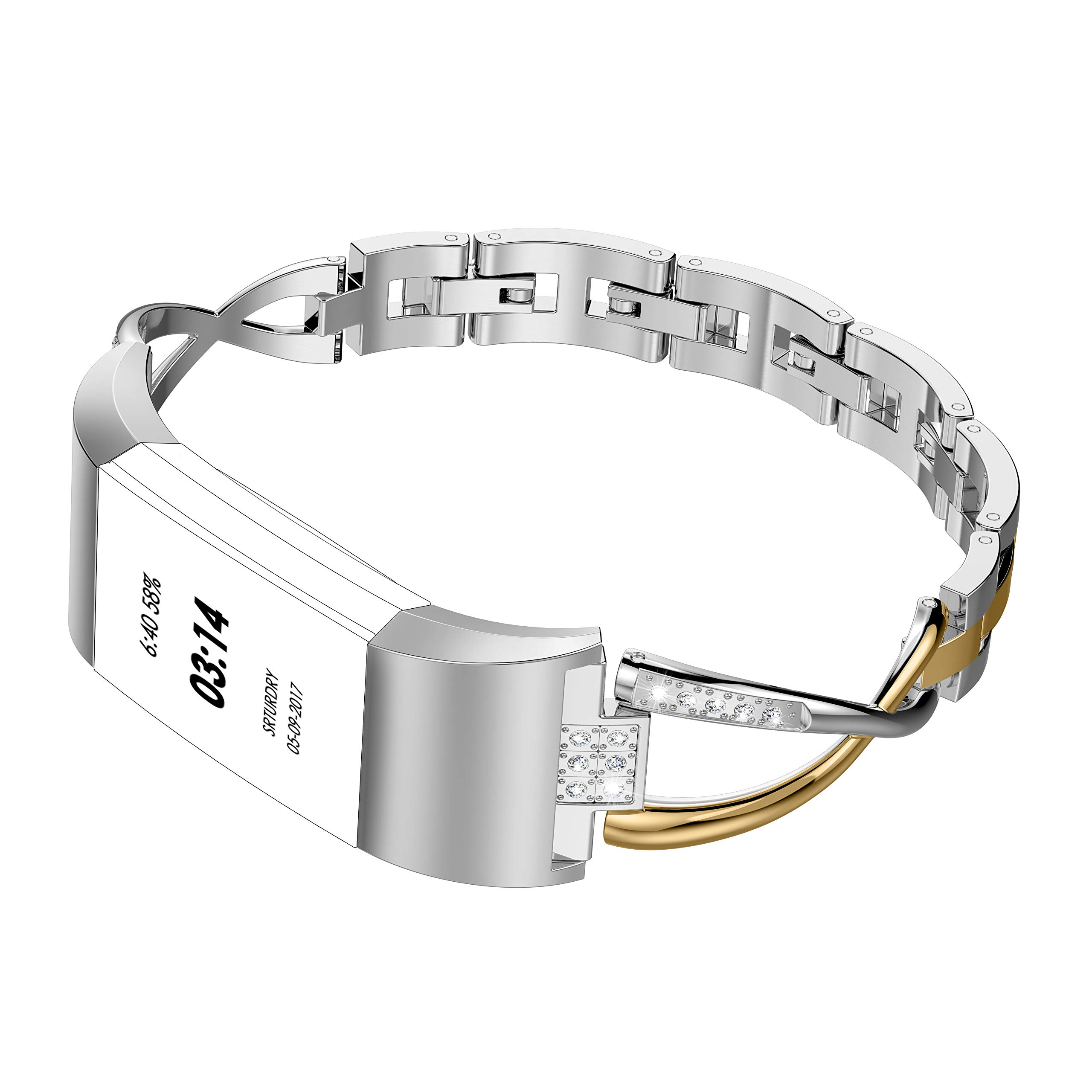 Wearlizer Replacement for Fitbit Charge 2 Bands for Women Metal Bangle/Bracelet/Assesories/Straps/Wrist Band for Fitbit Charge hr 2 Women Small Large (Gold+Silver) by Wearlizer