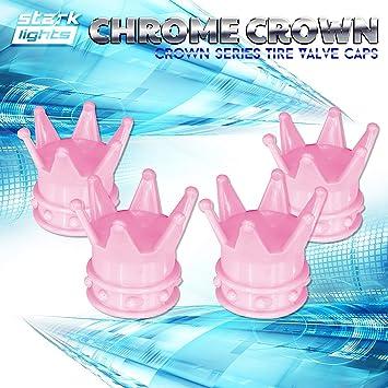 4pcs Pink Crown Shaped Car Motorcycle Tire Valve Cap Good Seal