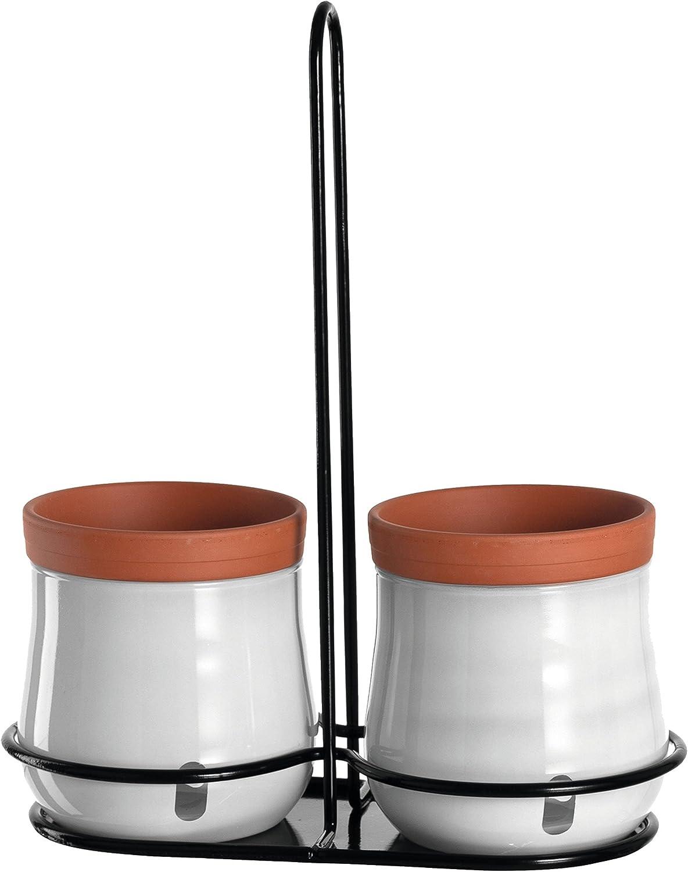 Leonardo Pflanzentopf S weiss 2-teilig Keramik Glas Kräutertopf bauchig Übertopf