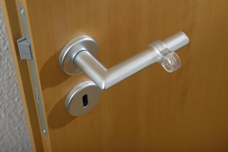 Maniglia trasparente come protezione della parete per ogni porta e finestra Montaggio facile senza foratura Set di 6 Maniglia per porte e maniglia Meister Clever Set di 6