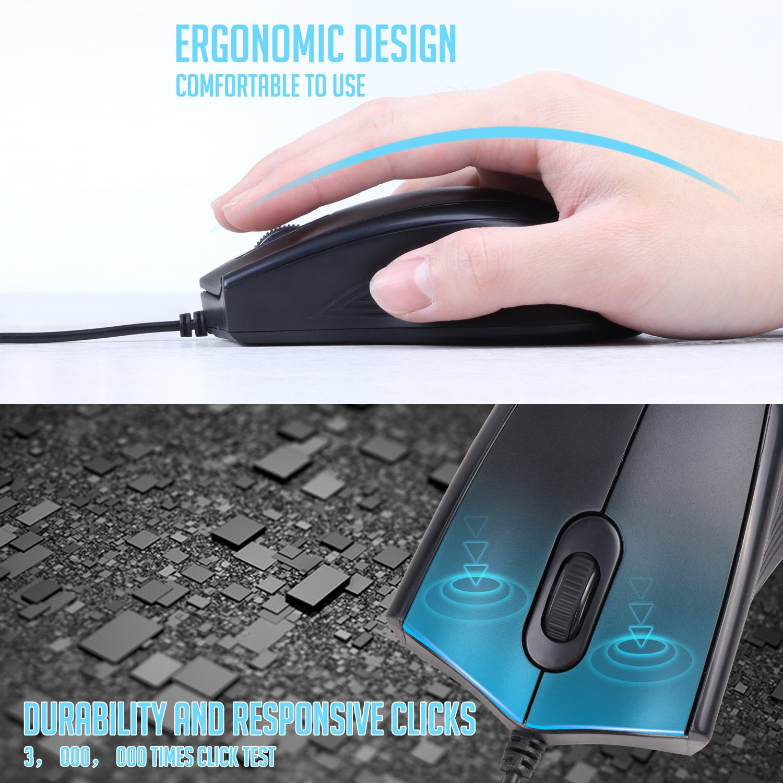 VCOM 3-Button USB Wired Mouse Ergonomic Design Comfortable Computer Mice 5.9 Feet Long Cord with 1200 DPI Compatible for Windows Vista PC Laptops Desktop MacBook Chromebook Black