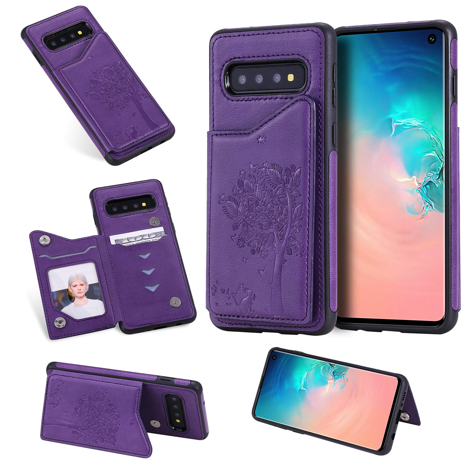 DAMONDY Wallet for Galaxy S10 Case,Emboss Tree Cat Slim Protective Case with Credit Card Slot Holder Flip Folio Soft PU Leather Magnetic Closure Cover Case for Samsung Galaxy S10-purple by DAMONDY
