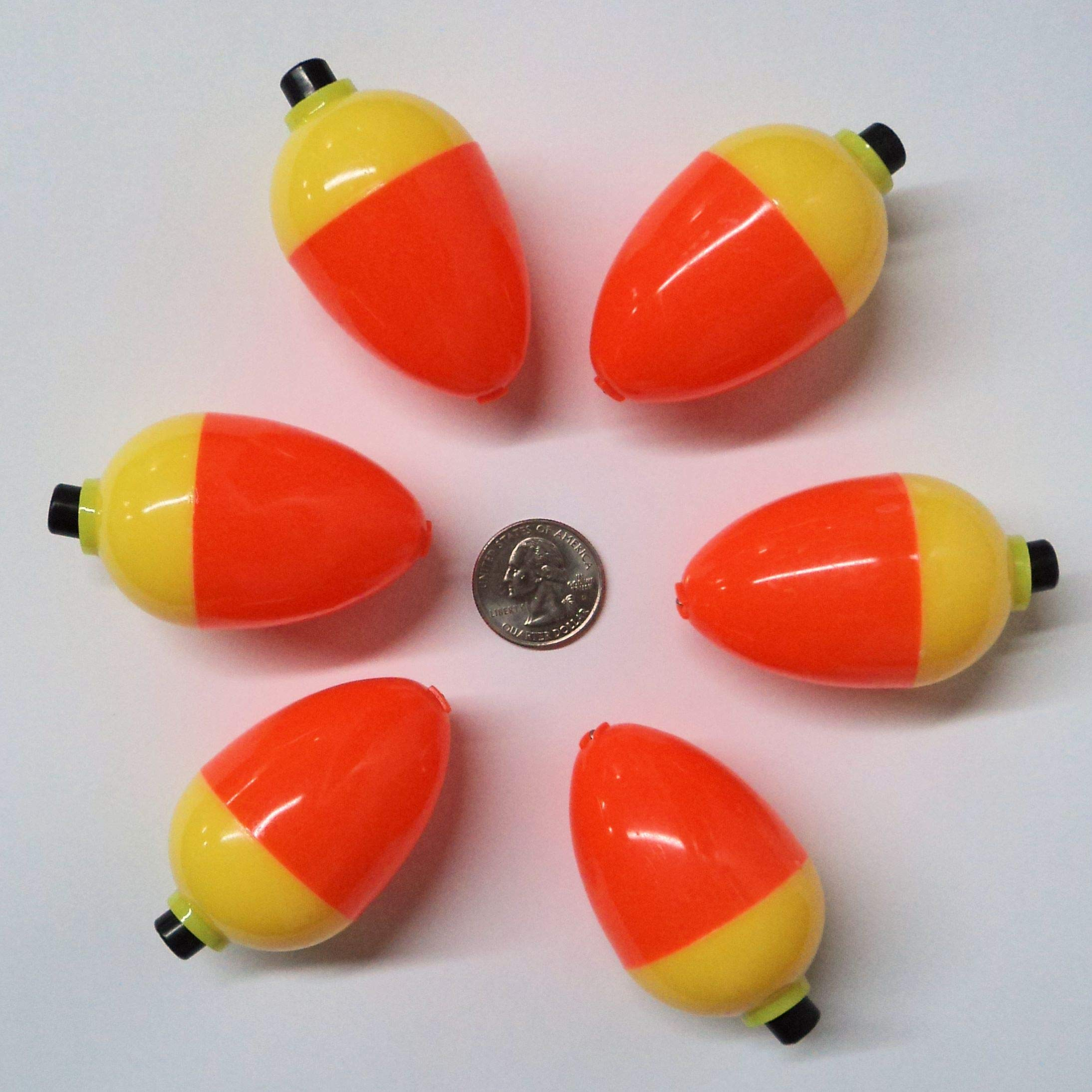Plastilite Pear Shape Ice Fishing Bobbers Orange/Yellow 6 Pack, Bright, Easy to See 3/4 to 1-1/2 Inch