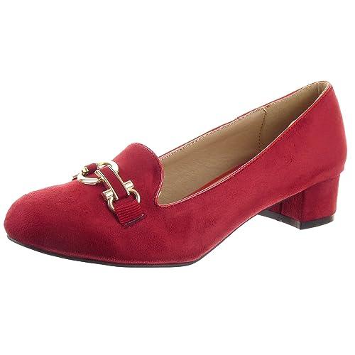 Sopily - Zapatillas de Moda Mocasines Bailarinas Tobillo mujer Hebilla metálico Talón Tacón ancho 3.5 CM - Rojo WL-1060 T 41: Amazon.es: Zapatos y ...